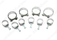 1968-1970 Ford Mustang double wire grip radiator hose clamps and Wittek tower style heater hose clamps.