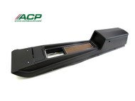 1970 Ford Mustang console assembly for automatic transmission with deluxe woodgrain interior.