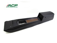 1970 Ford Mustang console assembly for manual transmission with deluxe woodgrain interior.