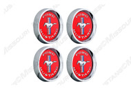 Legendary Wheel Tri-Bar Running Horse center cap set, red.