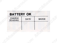 1965-78 Battery Test OK Decal