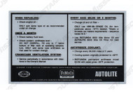 1967-1969 Ford Mustang Service Specification Decal