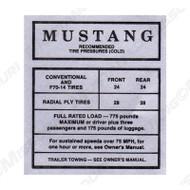 1967-68 Glove Box Decal Tire Pressure