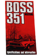 1971 Ford Mustang Boss 351 Owners Manual