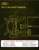 1973 Ford Mustang Shop Manual Set of 5 books