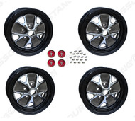 "1966 Ford Mustang styled steel wheels, 14"" X 5"", with black rims, set of four. 3 3/4"" back spacing."