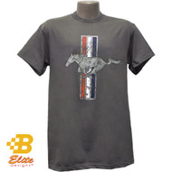 Ford Mustang Tri-Bar Distressed T-Shirt Charcoal
