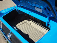 1969-1970 Ford Mustang vinyl trunk mat shown in the plaid pattern.