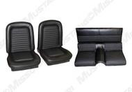 1966 Ford Mustang coupe, convertible and fastback full set standard upholstery. Covers the two front buckets and rear seat.  Fastback set shown.
