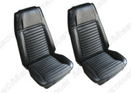 1970 Ford Mustang Mach I front buckets, upholstery, pair. Covers two front buckets. Made in USA.