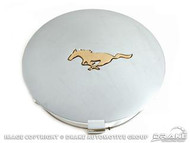 1990-1993 Ford Mustang pony wheel center hubcap, each.  Chrome cap with gold Mustang.  Emblem is recessed into the cap for a clean appearance.