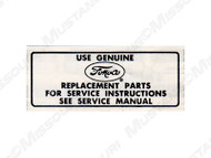 1966-73 Air Cleaner Service Instructions Decal