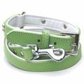 """Brando"" Double Leather Dog Collar + Leash Set (Lime)"