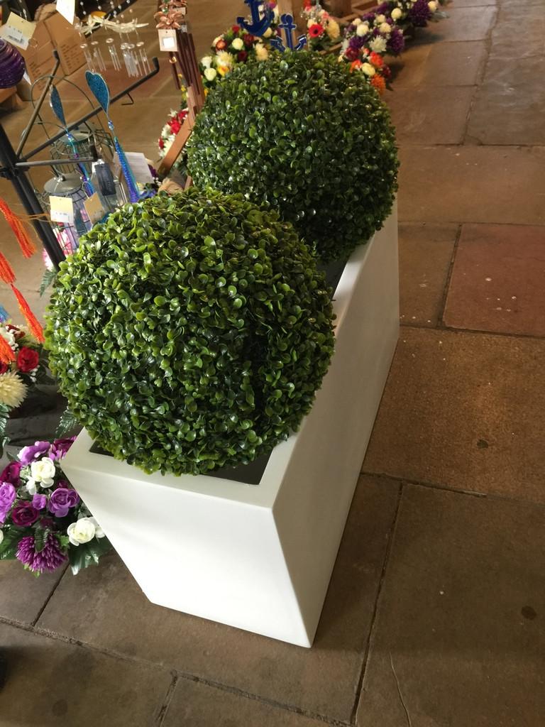 Trough Style White Planter