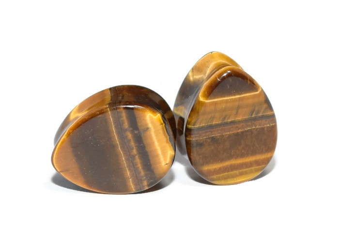 Brown Tigers Eye Teardrop Plugs
