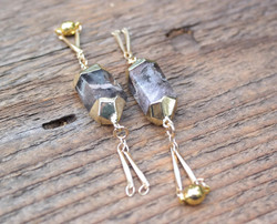 Rutilated Quartz Gauged Earrings