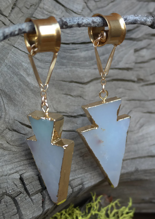 Chrysoprase Arrowhead Gauged Hanging Earrings