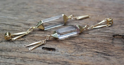 Quartz Crystal Electroformed Gauged Earrings