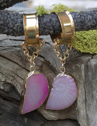 Beautiful Agate Hanging Gauged Earrings