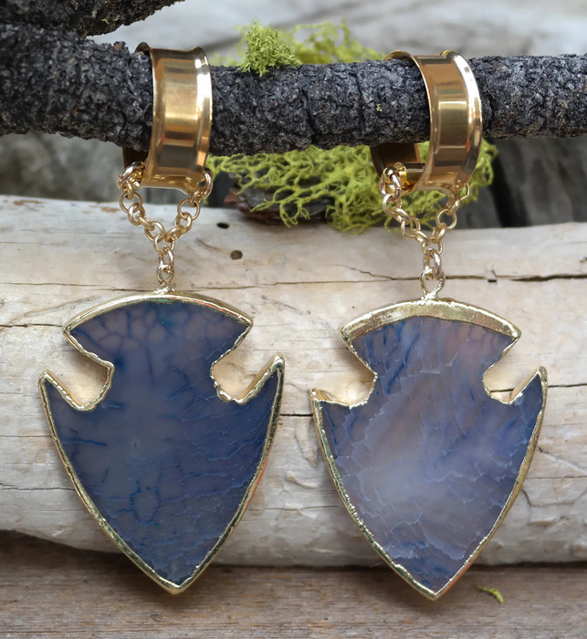 Unique Blue Agate Hanging Gauged Earrings