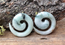 Beautiful Jadeite Spirals Earrings 7/16""
