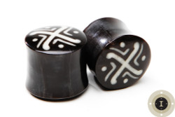 Water Buffalo Horn Plugs - Tribal Pattern