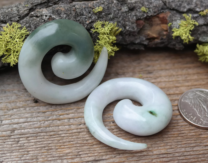 One of a Kind Jadeite Spirals size 1/2""