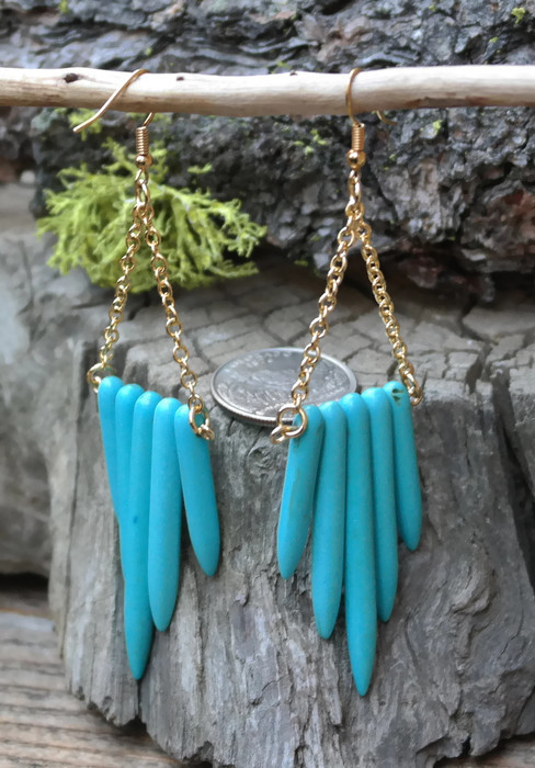 Beautiful Synthetic Turquoise Earrings