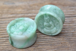 Jadeite Buddha Double Flared Plugs 1""