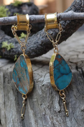 Gorgeous Chrysocolla Gauged Earrings