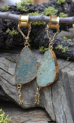 Unique Pair of Teal Jasper Gauged Earrings