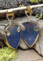 Blue Agate Hanging Gauged Ear Weights