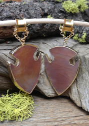 Red Agate Gauged Hanging Ear Weights