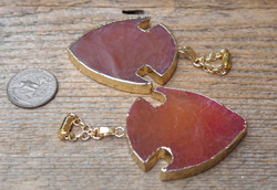 Beautiful Red Agate Hanging Gauged Earrings