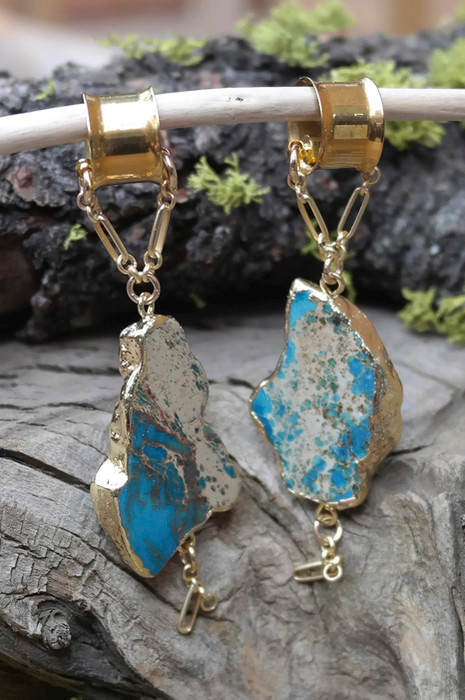 Gorgeous Lapis Gauged Hanging Earrings