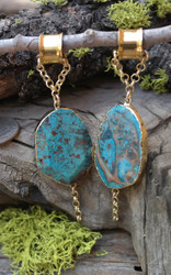 Pair of Crysocolla Hanging Gauged Earrings