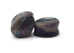 One of a Kind Double Flared Fluorite Plugs 5/8""