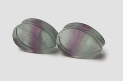 Gorgeous Double Flared Fluorite Teardrop Plugs 7/8""