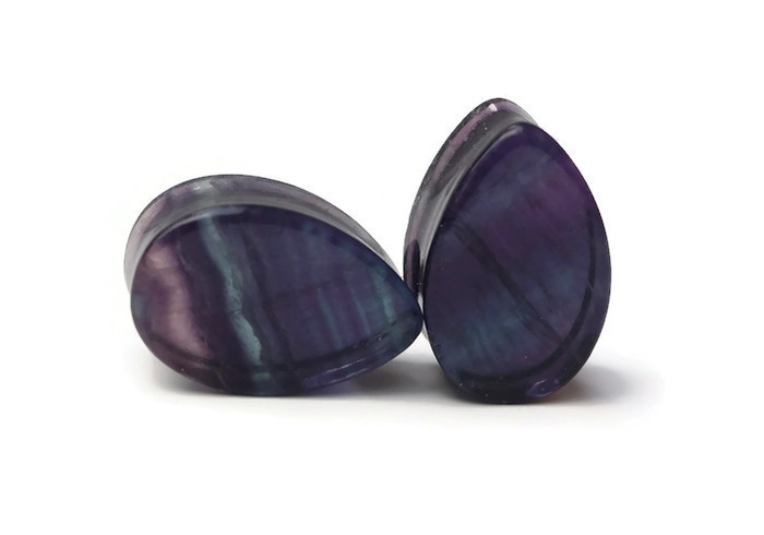 Beautiful One of a Kind Fluorite Plugs - Double Flared 7/8""