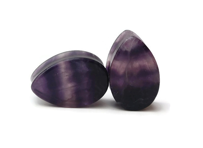 Fluorite Teardrop Plugs - Double Flared 7/8""