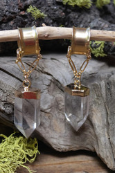 Gorgeous Clear Crystal Quartz Gauged Earrings