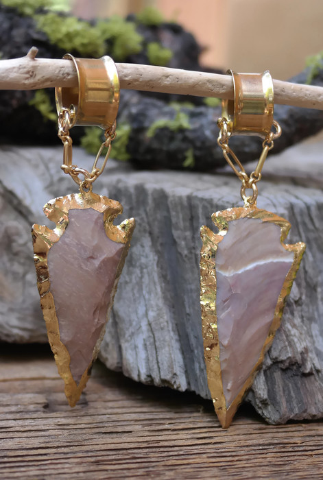 Gorgeous Petrified Wood Gauged Earrings
