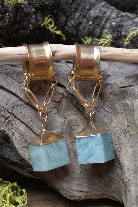 Gorgeous Amazonite Gauged Earrings with a Magnetic clasp