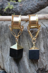 Unique Black Onyx Gauged Earrings