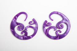 Limited Edition - Purple Swirl Wave Hoops