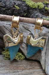 Blue Agate Shark Tooth Magnetic Clasp Gauged Earrings