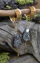 Black Druzy Gauged Earrings