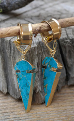 Synthetic Turquoise Arrowhead Gauged Earrings