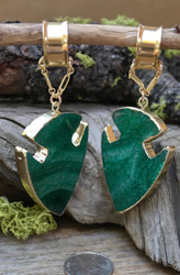 Green Agate Magnetic Clasp Gauged Earrings