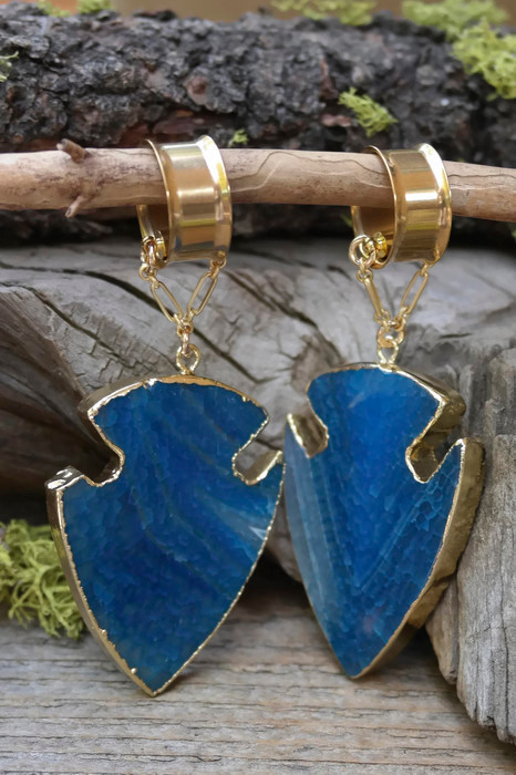 Blue Agate Magnetic Clasp Gauged Earrings
